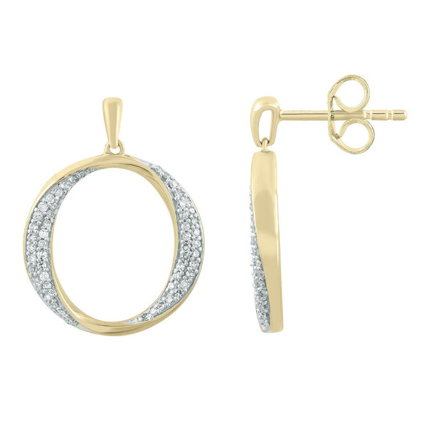 Earrings with 0.18ct Diamonds in 9K Yellow Gold