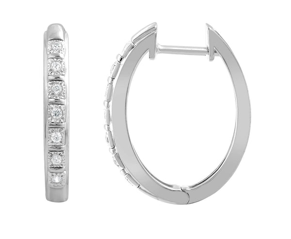 Huggie Earrings with 0.1ct Diamonds in 9K White Gold