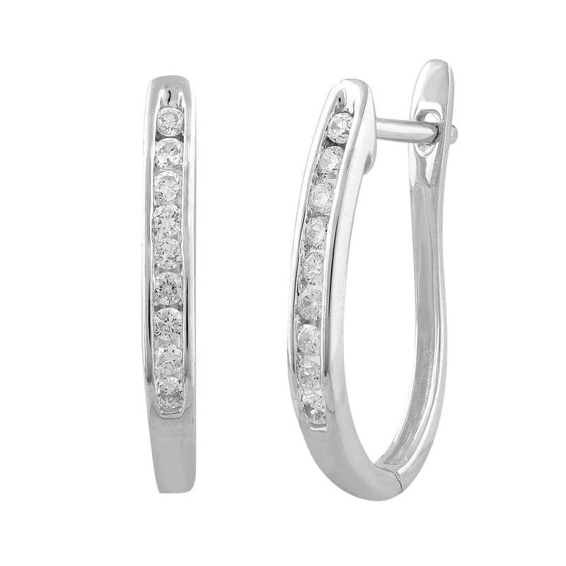 Huggie Earrings with 0.17ct Diamond in 9K White Gold