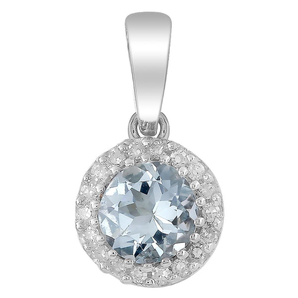 Aquamarine Pendant with 0.03ct Diamonds in 9K White Gold