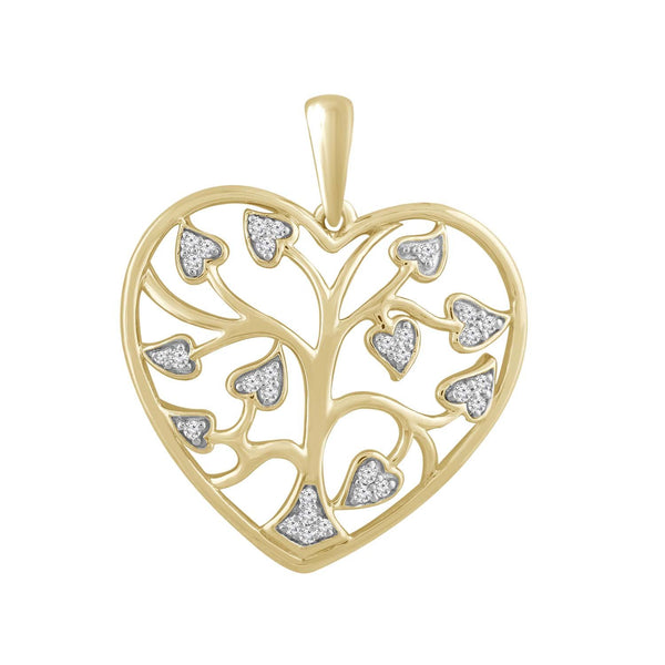 Tree Of Life Pendant with 0.1ct Diamond in 9K Yellow Gold