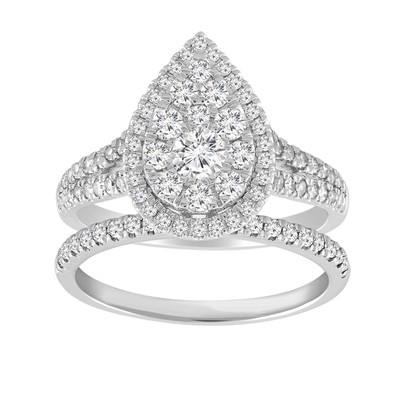 Pear Ring Set with 1ct Diamonds in 18K White Gold