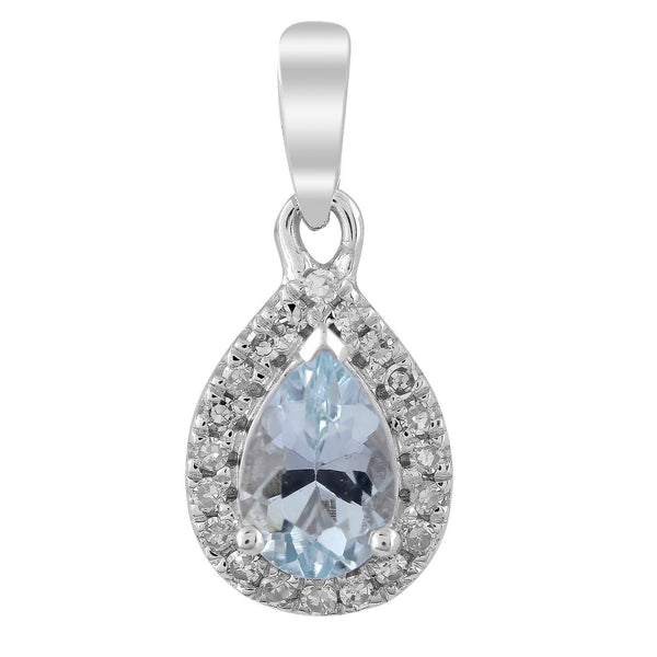 Aquamarine Pendant with 0.07ct Diamonds in 9K White Gold