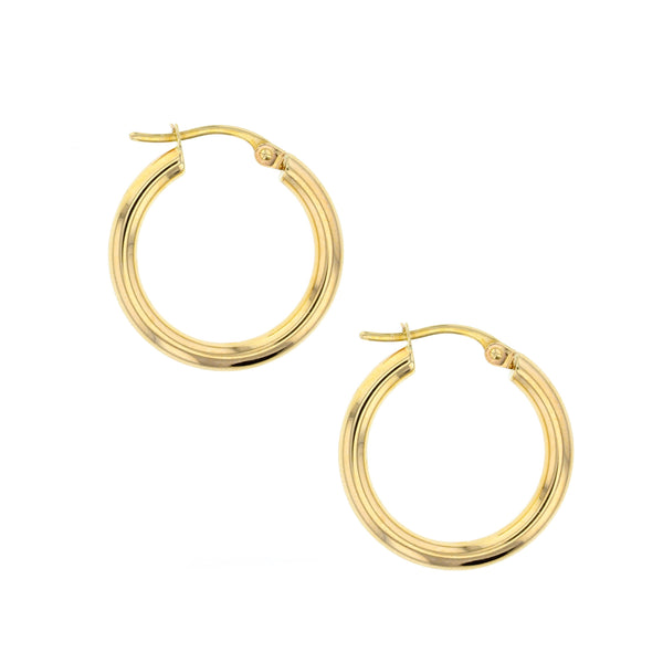 Plain 15mm Hoop Earrings in 9ct Gold