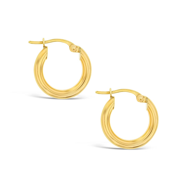 Plain 10mm Hoop Earrings in 9ct Gold
