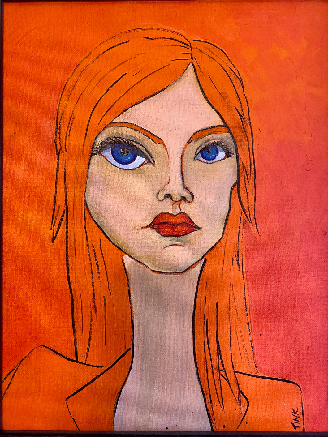 Imaginary Friend Portrait - Tiffany in Cadmium Orange