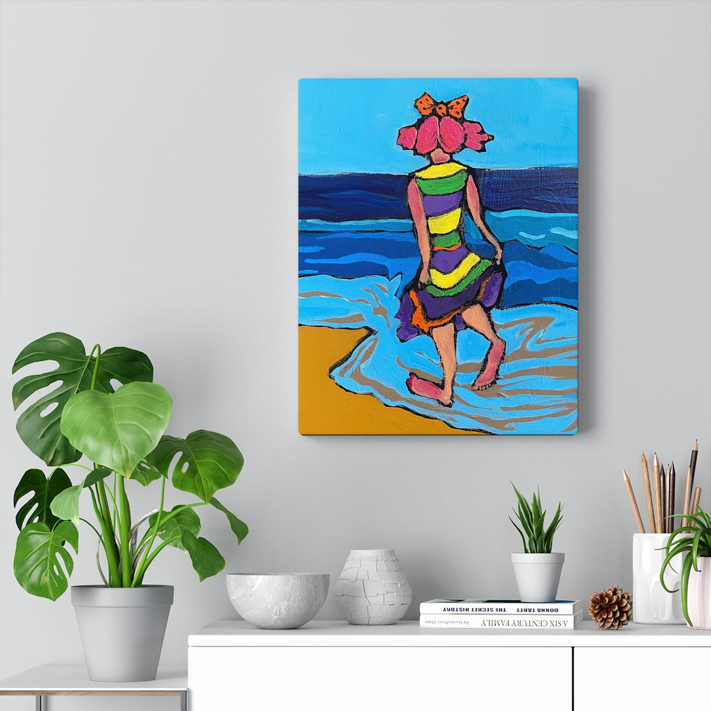 Clown Girl on the Beach - Canvas Print by Katinkabelle Art