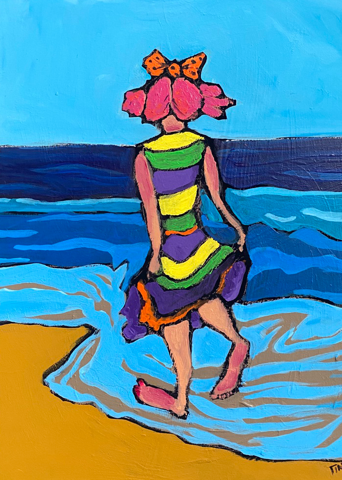 Clown Girl Takes a Beach Walk Painting by Katinkabelle