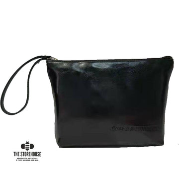 Black Oil Tanned Zipper Pouch