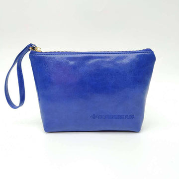 Cobalt Oil Tanned Zipper Pouch