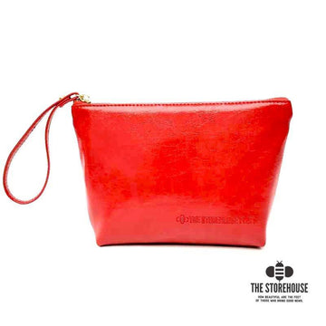 Red Oil Tanned Zipper Pouch