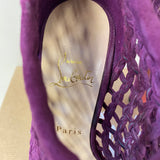 CHRISTIAN LOUBOUTIN PURPLE SUEDE CAGE BOOTIES SIZE 37 4