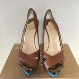 LOUBOUTIN BROWN LEATHER PLATFORM HEELS - SIZE 39