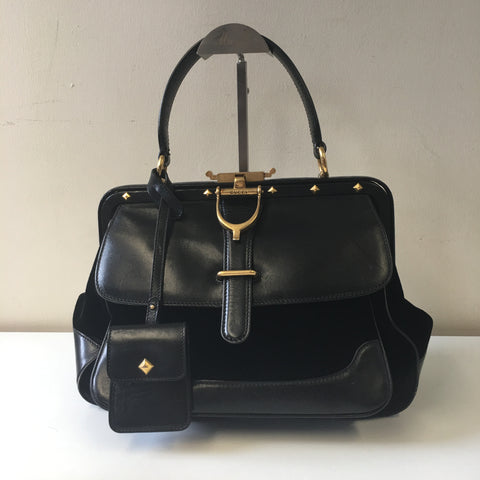 GUCCI LADY STIRRUP BLACK LEATHER AND BROCADE VINTAGE BAG