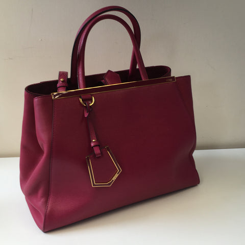 FENDI PINK RED MEDIUM 2JOURS LEATHER BAG