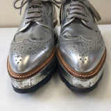 PRADA SILVER BROGUE SHOES - SIZE 38