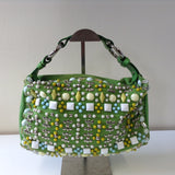 CHLOE GREEN MATERIAL BAG WITH BEADED DETAIL