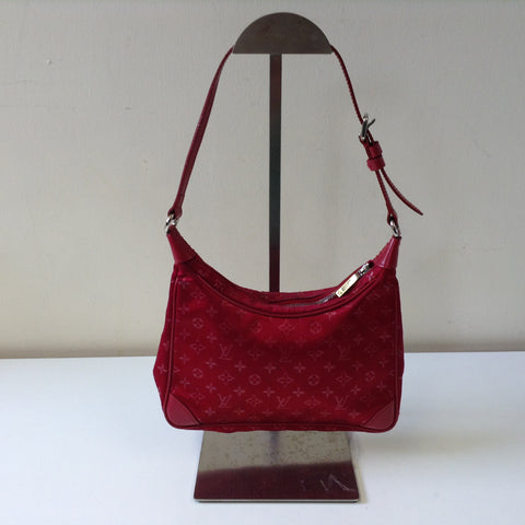 LOUIS VUITTON SMALL RED SATIN LV MONOGRAM BAG