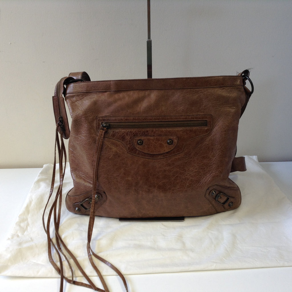 BALENCIAGA BROWN DISTRESSED LEATHER CROSSBODY BAG