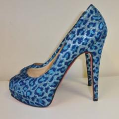 Christian Louboutin blue animal print heels size 36