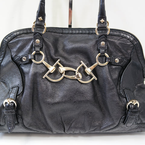 GUCCI BLACK LEATHER BAG WITH GOLD HARDWARE