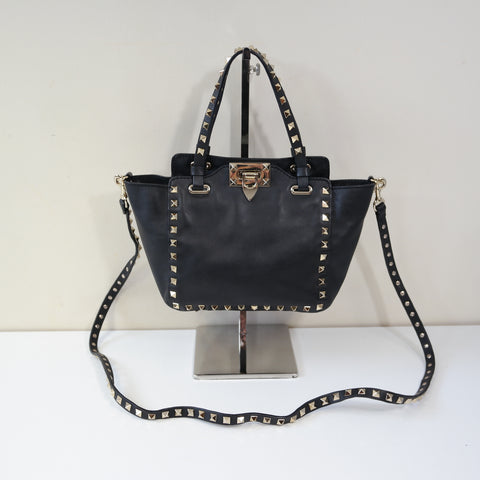 VALENTINO SMALL BLACK LEATHER ROCKSTUD BAG