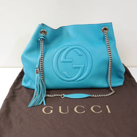 GUCCI SOHO TOTE SHOULDER BAG BLUE LEATHER