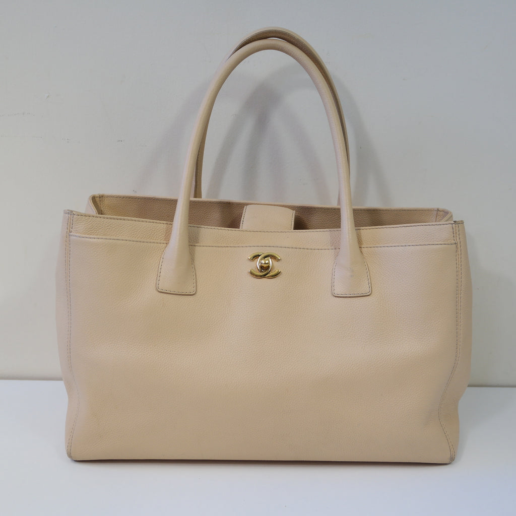 CHANEL CERF TOTE BEIGE CAVIAR LEATHER