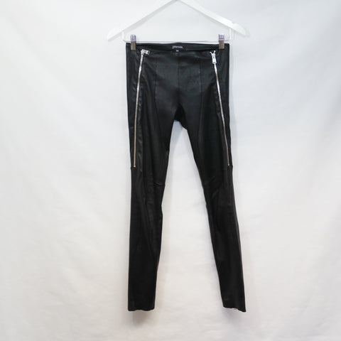 JITROIS BLACK STETCH LEATHER ZIP PANTS SIZE 4 - 6 UK