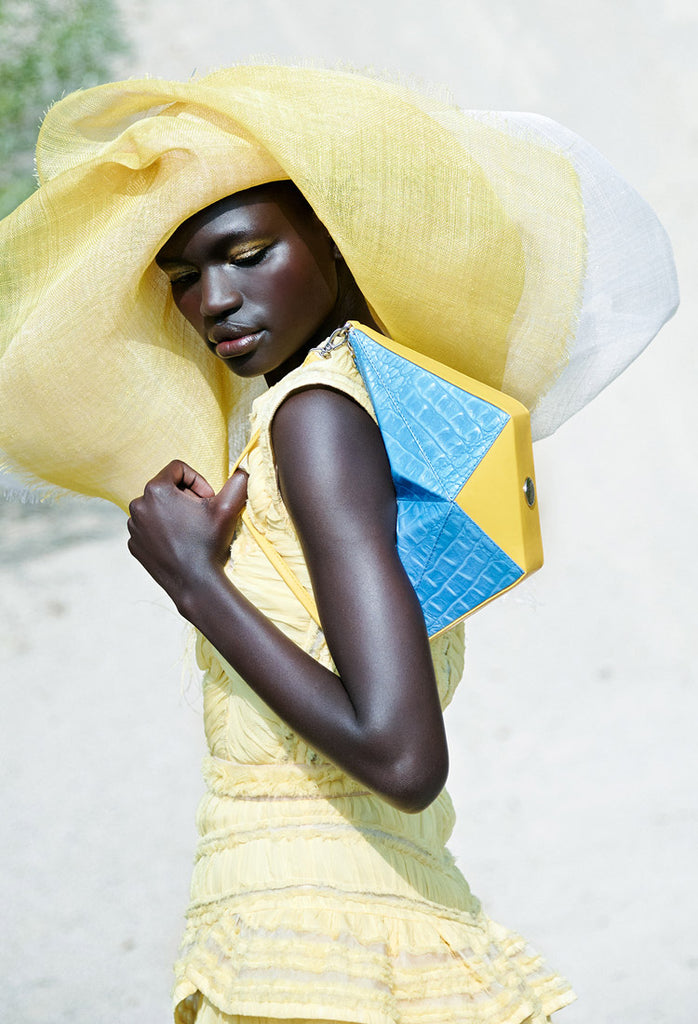 OSTWALD Art Couture Bags . ORIGAMI Shoulderbag. Sculpture Bag in blue and yellow Leather. Multicolored Bag