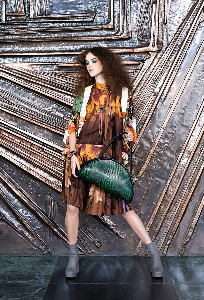OSTWALD Finest Couture Bags Lookbook CALZONE Tote green Leatherbag printed lizard