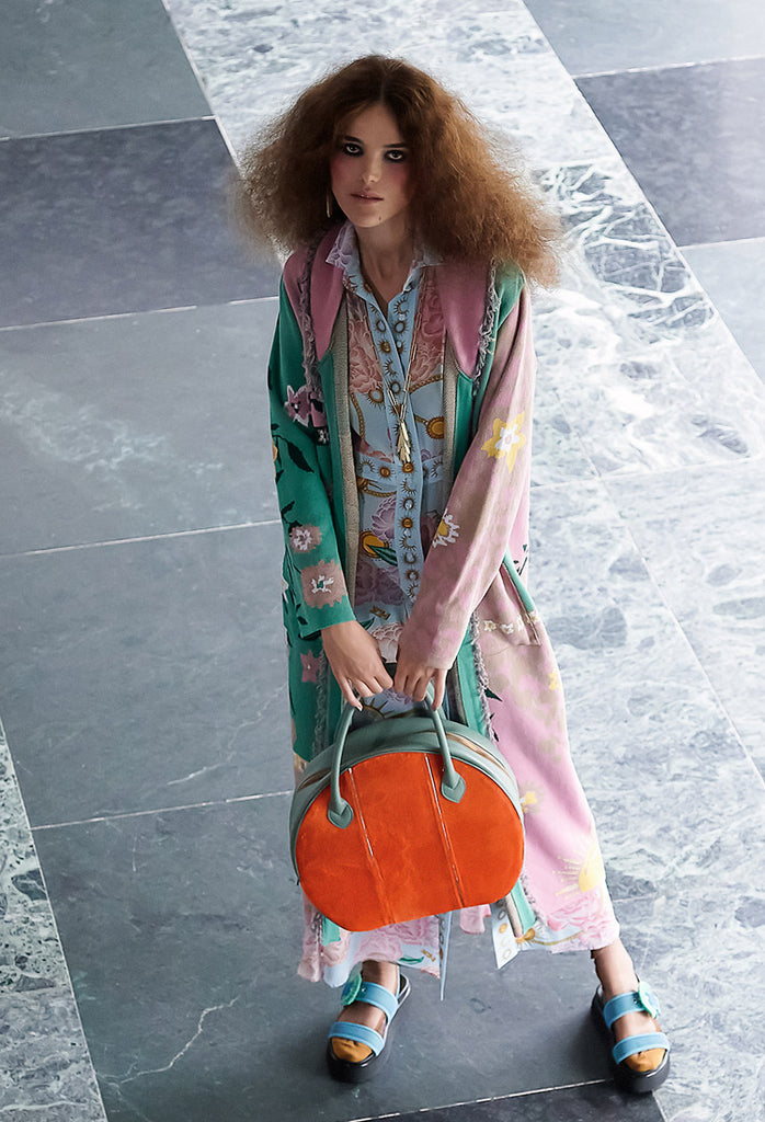 OSTWALD Finest Couture Bags Lookbook CIRCLE Soft Tote salvia green Leather with orange fur