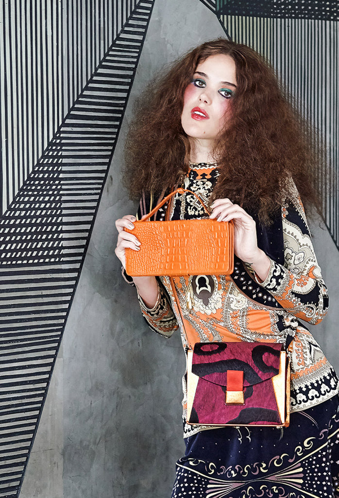 OSTWALD Finest Couture Bags Lookbook OPERA Clutch orange Leatherbag croc embossed