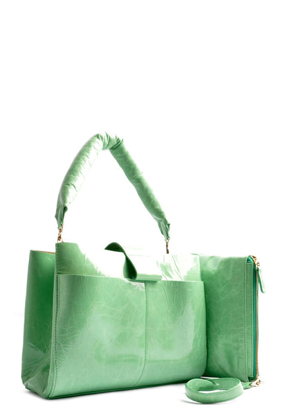 Handcrafted Shopper Bag . Color lime green .  Leatherbag . Handcrafted . OSTWALD Leather Manufactory