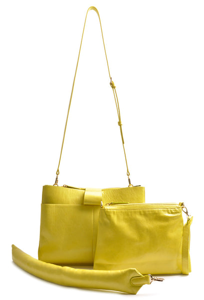 Handcrafted Shopper Bag . Color lemon yellow .  Leatherbag . Handcrafted . OSTWALD Leather Manufactory