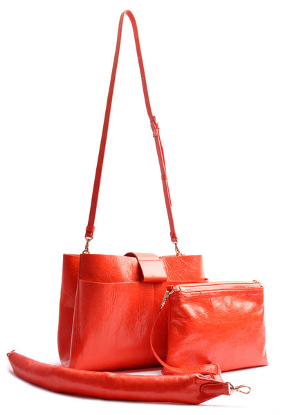 Handcrafted Shopper Bag . Color corallo .  Leatherbag . Handcrafted . OSTWALD Leather Manufactory