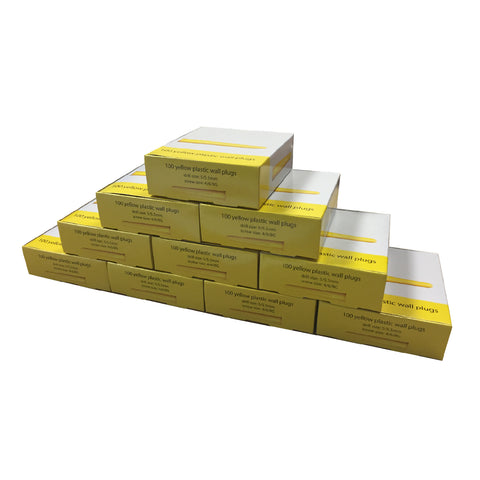 1000 x  Trade Pack Yellow Wall Raw Plugs <br> Drill Size: 5mm