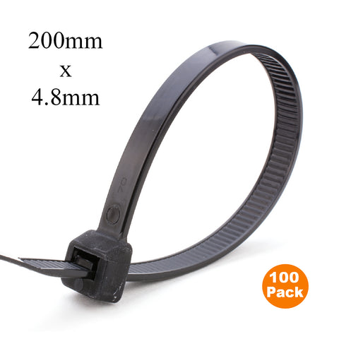100 x Black Cable Ties 200mm x 4.8mm / Zip Ties<br><br>