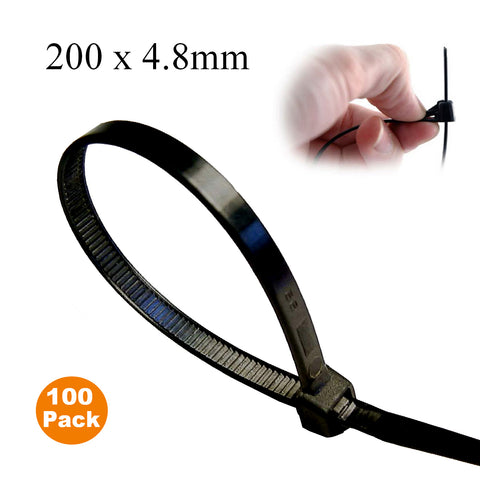 100 x Black Releasable Cable Ties <br> Size: 200 x 4.8mm