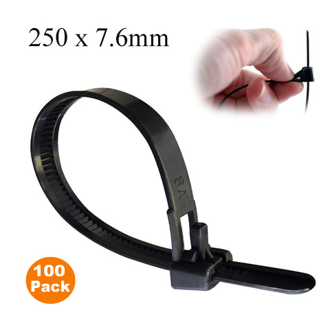 100 x Black Releasable Cable Ties<br>Size:  250 x 7.6mm