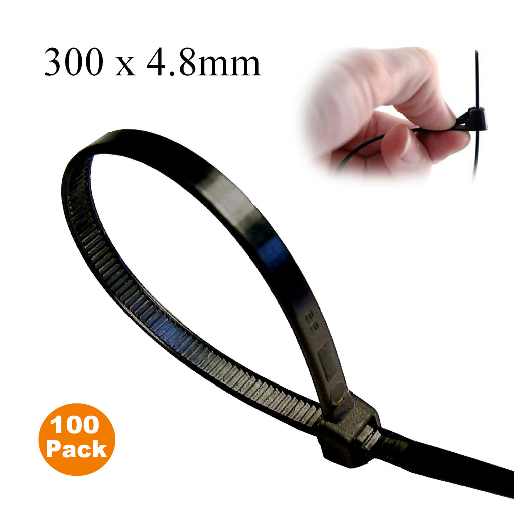 100 X Black Releasable Cable Ties 300mm X 4 8mm Reusable
