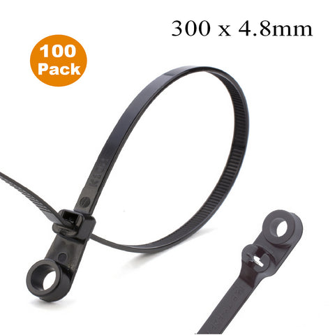 100 x Black Screw Mount Cable Ties 300mm x 4.8mm<br><br>