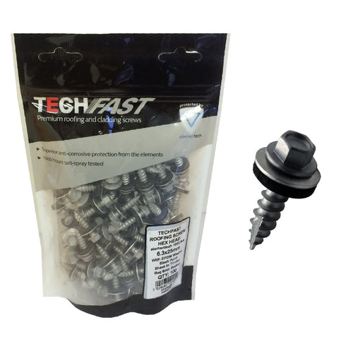 100 x Tech Slash Point Screws, Sheet to Timber 6.3 x 25mm