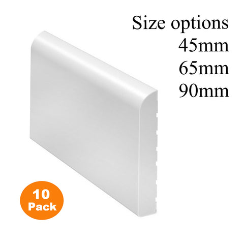 10 x White Bullnose Plastic Trim <br>2.5 Metre Lengths
