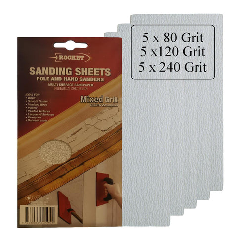 15 x Hook and Loop Mixed Grit 228 x 89mm Pole Sanding Sheets