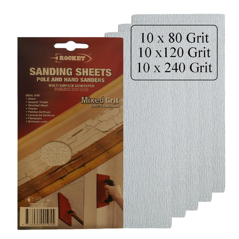 30 x Hook and Loop Mixed Grit 228 x 89mm Pole Sanding Sheets