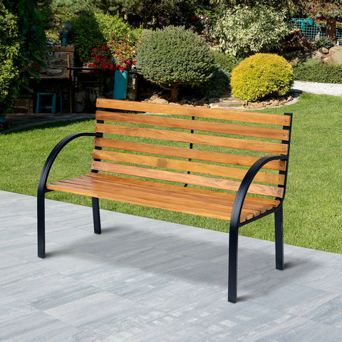 Garden Bench Hardwood 2 Seater Outdoor Wooden & Metal Chair