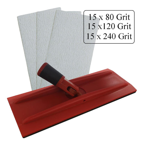 Hook and Loop Pole Wall Sander with 45 Mixed Grit Sanding Sheets
