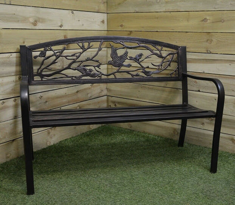 <br>Patio Bench with Bird Design Black 2 Seater Steel Garden Furniture
