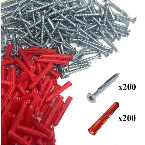 400 x Pozi Screws & Red Raw Fixing Plugs, 4.2 x 38mm Countersunk